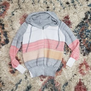 Striped Hooded Knit Sweater Zip Up Casual Hoodie